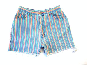 Vintage Faded Candy Stripe Cutoff Shorts