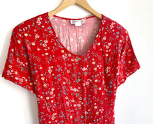 Load image into Gallery viewer, Vintage 1990s Red Floral dress