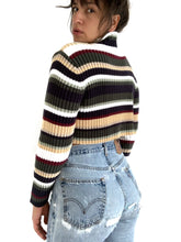 Load image into Gallery viewer, Stripe Cropped Turtle Neck