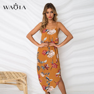 Summer Floral Print Long Sleeveless Dress