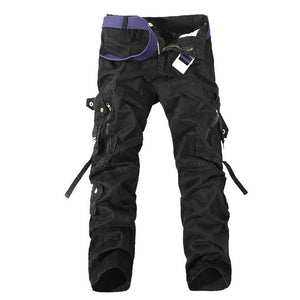 Multi-Pocket Solid Cargo Pants