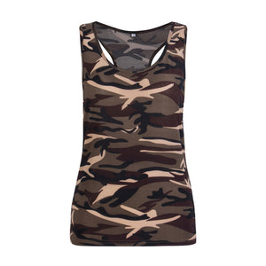 Camouflage Print Sleeveless Tank Tops