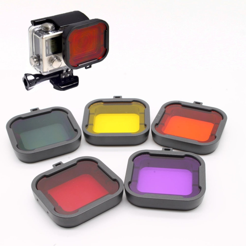 Gopro Accessories Dive Filter Orange Yellow Red Purple Grey 5 pcs/lot Underwater Diving Lens Filtro for GoPro Hero 3+/4