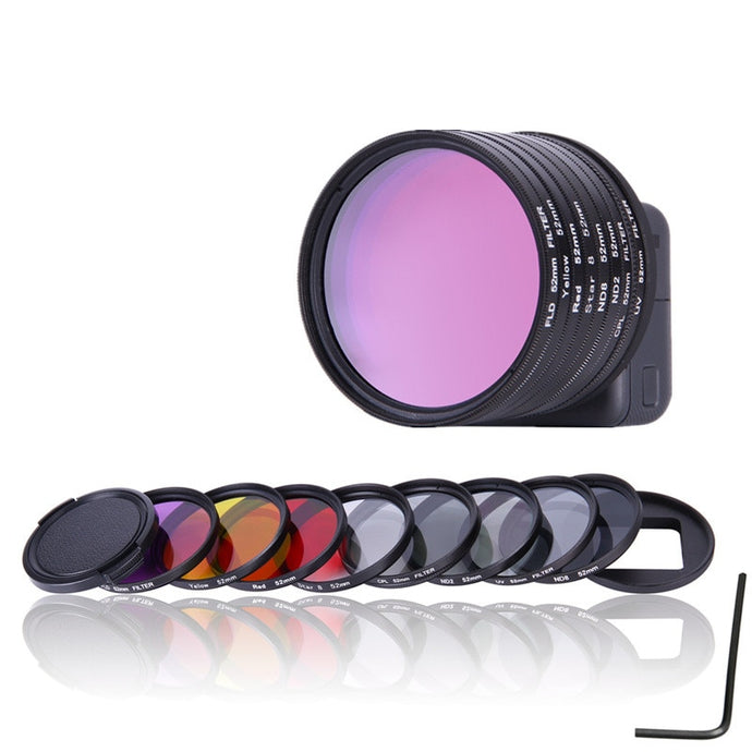 52mm UV CPL ND2 ND8 Star 8 Yellow FLD Purple Red Lens Filter Cap Adapter Ring For Gopro Hero 5 Go Pro GoPro5 Camera Accessories