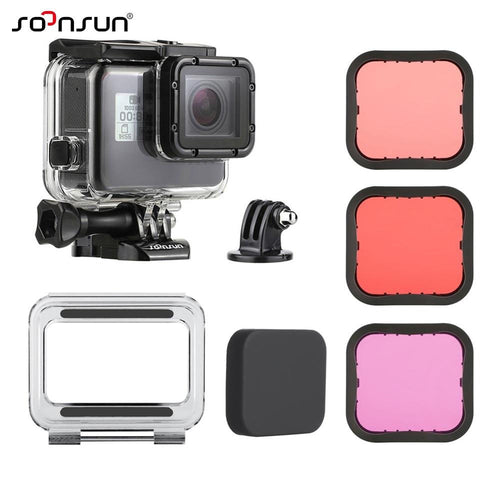 SOONSUN 45M Underwater Diving Waterproof Housing Case + Dive Color Lens Filter Kit for GoPro Hero 5 6 7 Black Camera Accessories