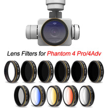 Load image into Gallery viewer, UV CPL ND4 ND8 ND16 Gradual Color Filter for DJI Phantom 4 Pro V2.0 Advanced Drone Camera Lens Polarizing Neutral Density GND