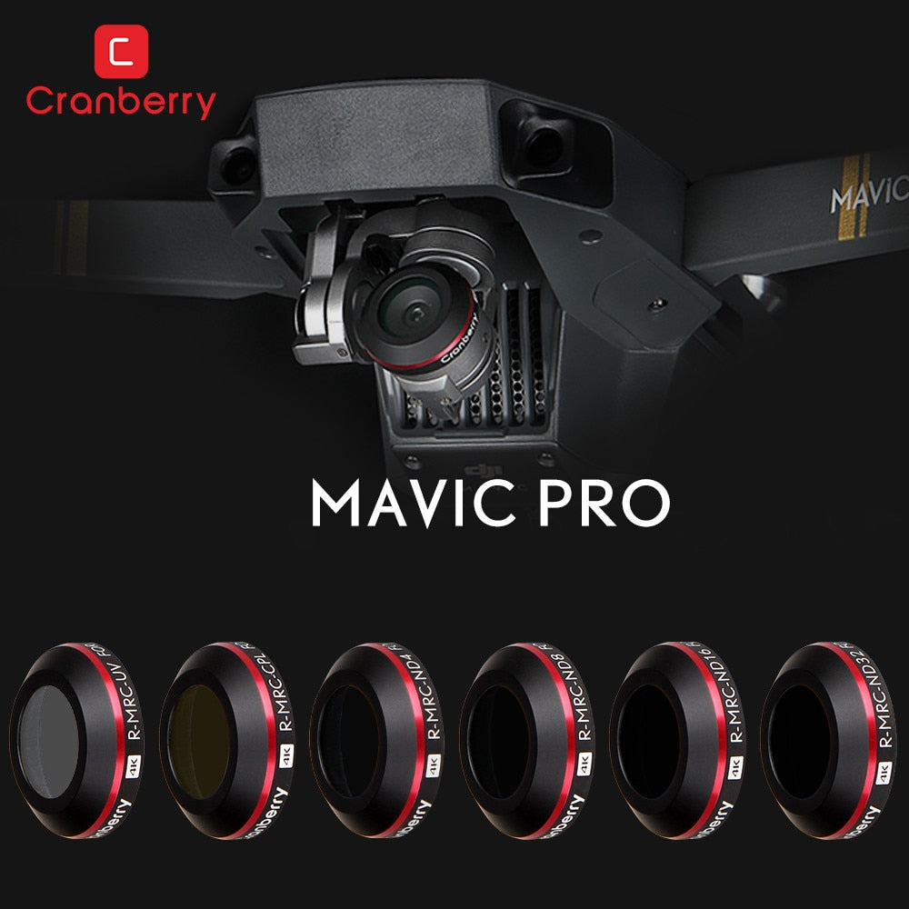 Multi Filter Kits CPL ND4 ND8 ND16 UV Lens Filters with Protective Case for DJI Mavic Pro RC Quadcopter With 4K HD Camera Drone