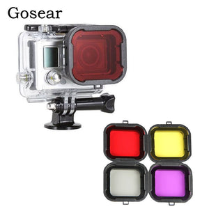 Gosear 4PCS Diving Filters Switchable Lens Scuba Case For GoPro Hero 4 3 Go Pro Hero4 Hero3 Filtro Filtre Accessories Gadget