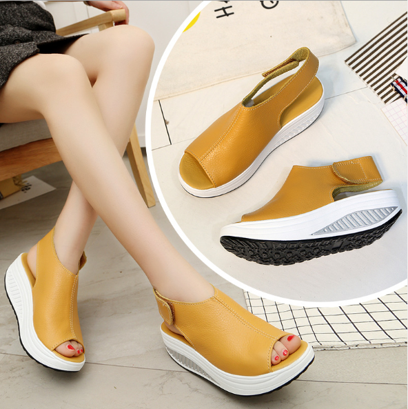 727c836408 Women's Leather Comfort Peep Toe Walking Wedges Sandals – Bolamy.com