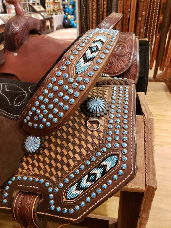 colorful western saddles and tack