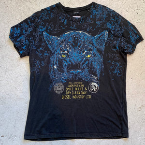DIESEL FLYING COUGAR TEE SHIRT WASHED OUT BLACK