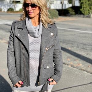 DEVAL WOOL BIKER JACKET GREY