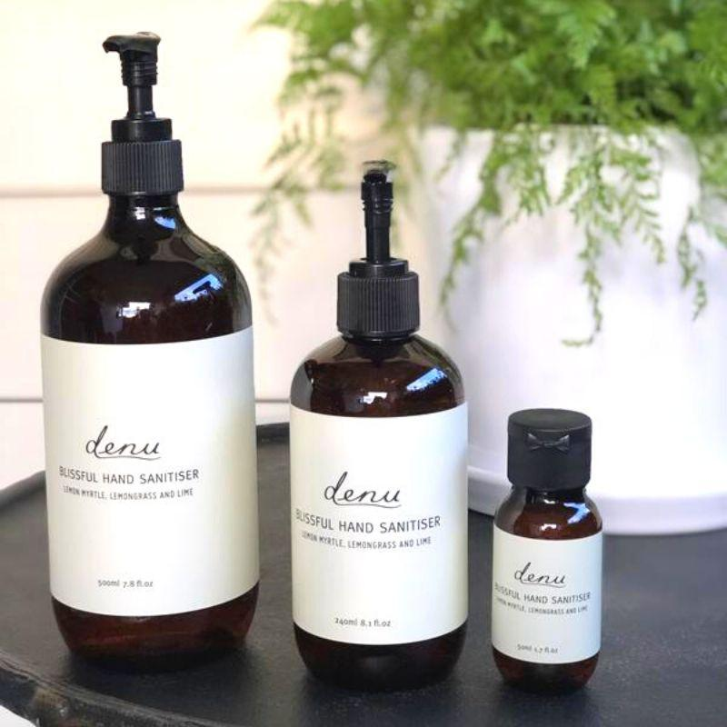 Denu's Hand Sanitiser kills 99.9% of germs on your hands without the need for water. Enjoy the refreshing scent, featuring Australian native lemon myrtle, lemongrass & lime.  Contains 70% alcohol.  Proudly Made in Melbourne.