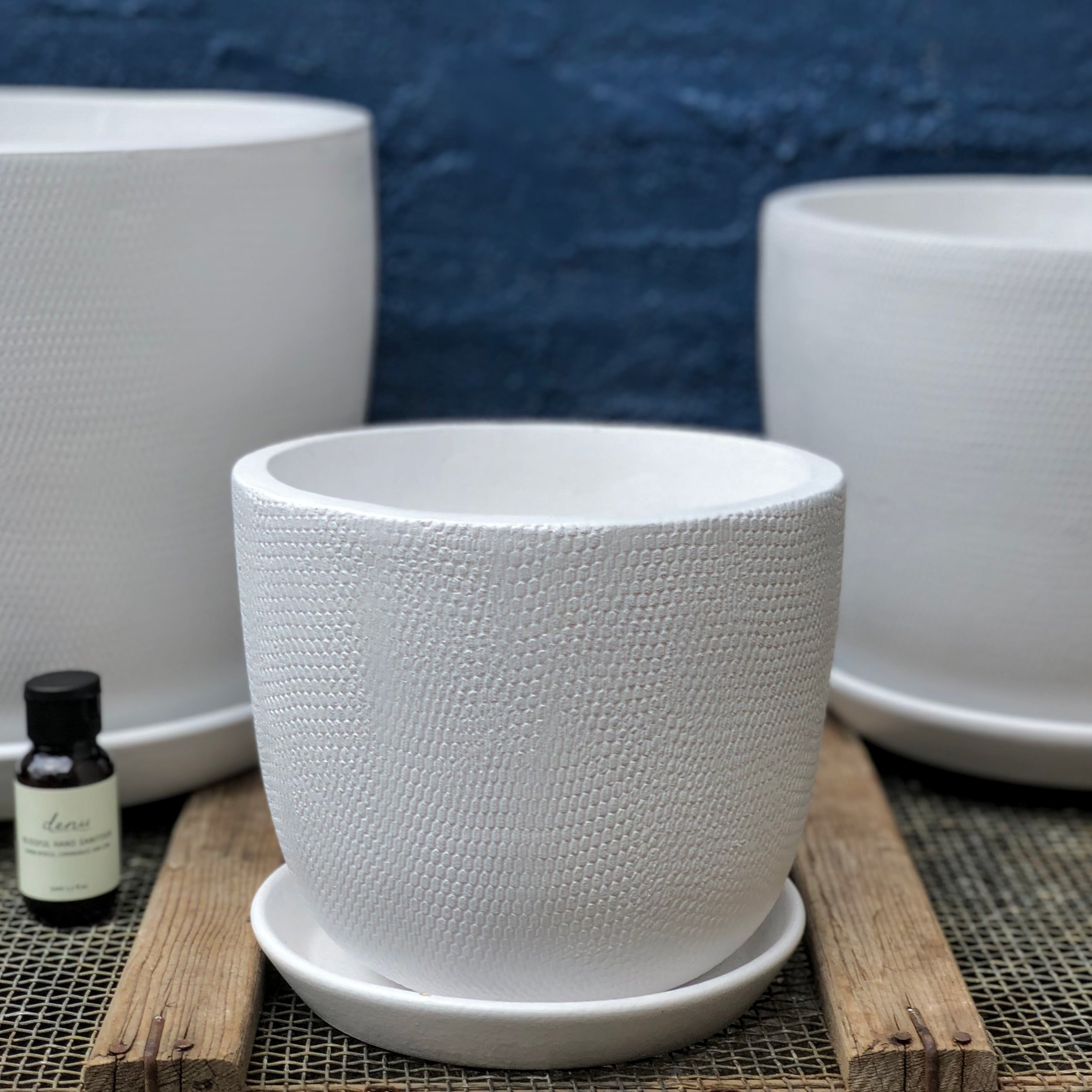 Large white Soho pot; Medium white Soho pot; Small white Soho pot. Prices for pots Large $65, Medium $45, Small $35