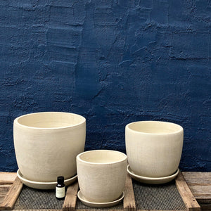 Large Ivory Soho pot; Medium Ivory Soho pot; Small Ivory Soho pot. Prices for pots Large $65, Medium $45, Small $35