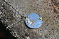 Birthstone Sterling Silver Necklace with 9ct Gold Set August Peridot