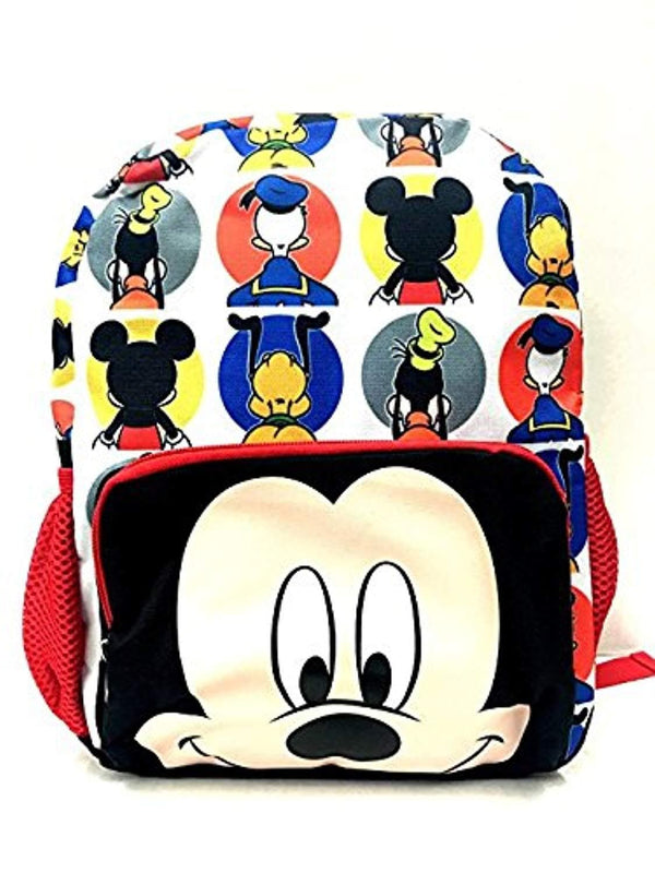 "Disney Mickey Mouse Big Face 12"" All Over Toddler Size Backpack"