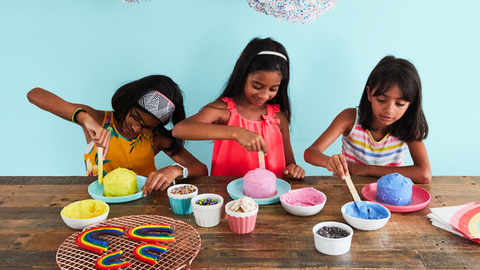 Girls decorating birthday cake kits
