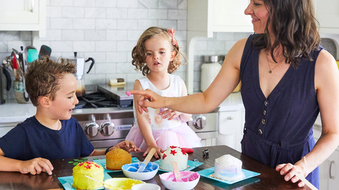 Mom baking with kids