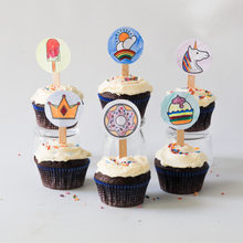 Load image into Gallery viewer, Unicorns Rainbows & Treats cupcake toppers