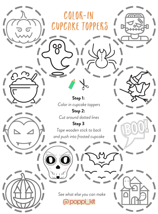 Color-in DIY Halloween Cake Toppers