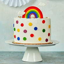 Load image into Gallery viewer, Circles cut out of fondant to make rainbow polka dots.