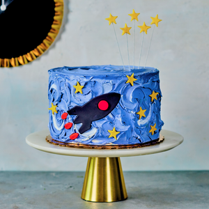 Rocket cake kit with swirled frosting