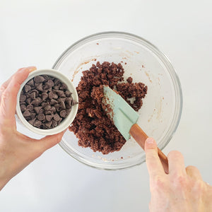 Mixing cookie dough from baking kit