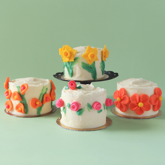 Mini cake kit with fondant flowers