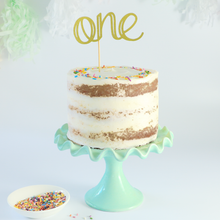 Load image into Gallery viewer, Smash cake topper, gold glitter one cake topper, for birthday cakes