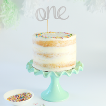 Load image into Gallery viewer, Smash cake topper, silver glitter one cake topper, for birthday cakes