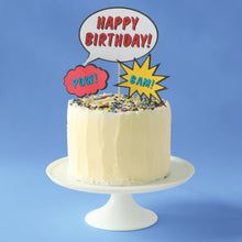 Load image into Gallery viewer, Superhero birthday cake kit with cake toppers