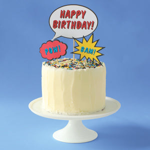Superhero birthday cake kit with cake toppers