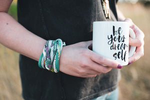 be your dreamy self fun mug, recycled fabric colorful bracelet