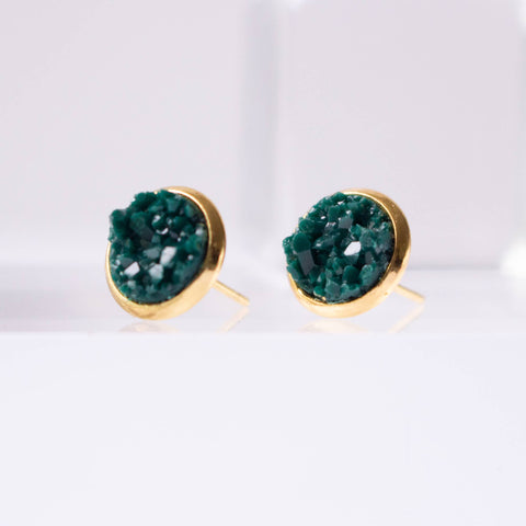 A Tea Leaf Jewelry - Quetzal Green Druzy Crystal Earrings