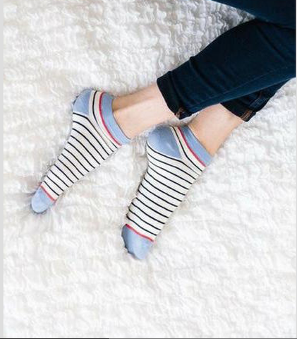 Woven Pear - French Striped Ankle Sock