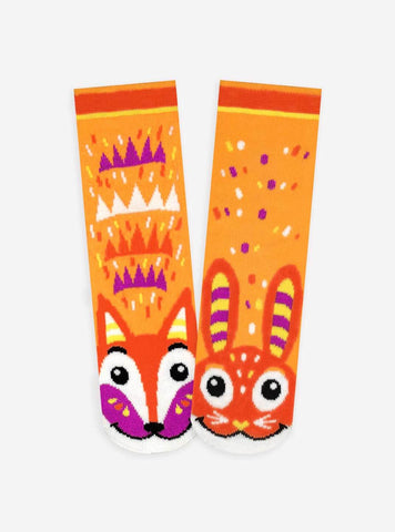 Pals Socks - Fox & Bunny Pals Artist Series Kids Mismatched Animal Socks