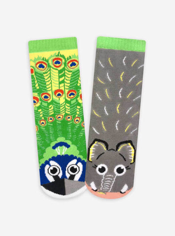 Pals Socks - Peacock & Elephant Kids Collectible Mismatched Animal Socks