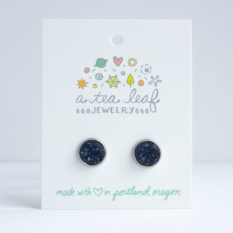 A Tea Leaf Jewelry - Navy Huckleberry Druzy Crystal Earrings