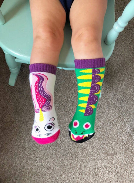 Pals Socks - Dragon & Unicorn Kids Collectible Mismatched Socks