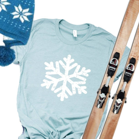 Top Crate Clothing - Christmas Graphic Shirt- Distressed Snowflake