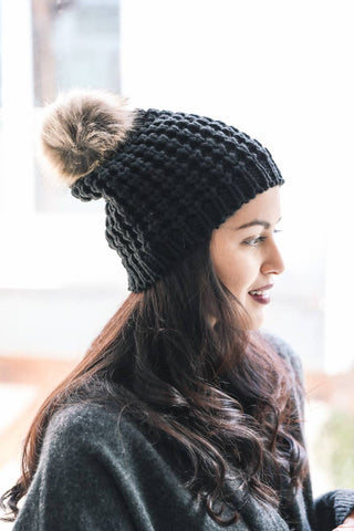 Leto Accessories - Textured Beanie With Pom Pom