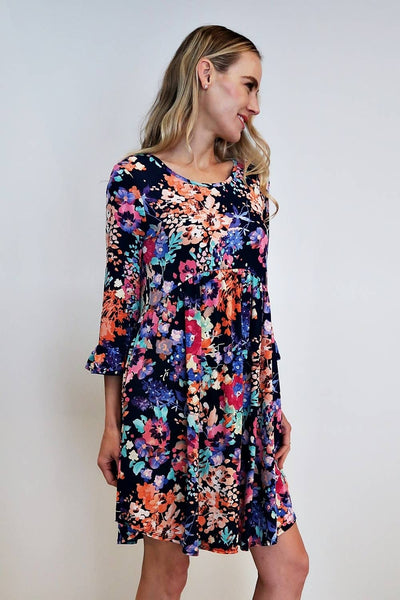 Celeste Clothing - Floral Navy Dress