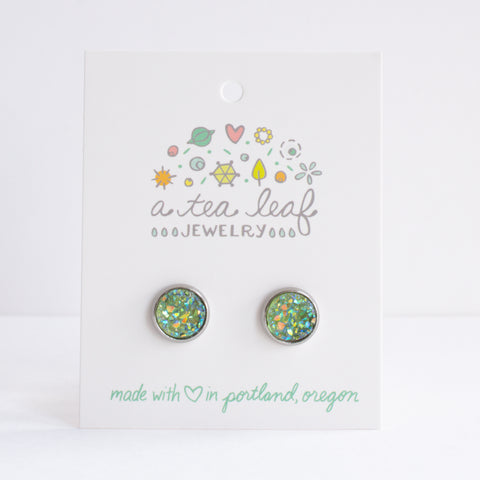 A Tea Leaf Jewelry - Olive Green Druzy Crystal Earrings
