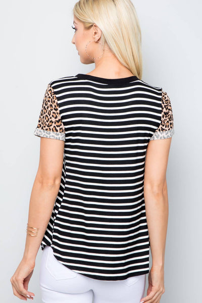 Celeste Clothing - Black Striped Vneck Tee