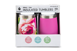 Core Home - Set of 2 12oz Wine Tumblers- Floral 2 Asst