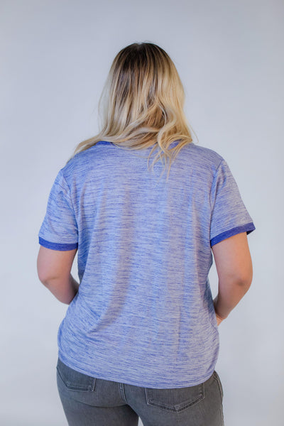 Retro V Neck Top - Blue Vintage