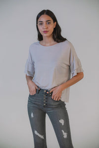 The Venice Sleeve Top- Taupe Stripe