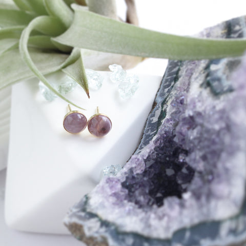 A Tea Leaf Jewelry - Amethyst Stone Earrings | Gold Filled