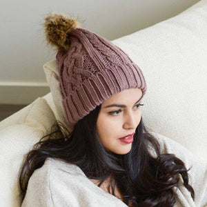 Leto Accessories - Cable Knit Beanie With Faux Fur Pom